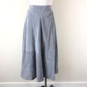 VTG Diani S M Gray Suede Leather maxi midi Skirt